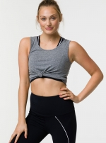 Топ Knot Crop Heather Grey