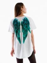 Футболка удлиненная Крылья белый