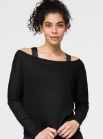 Топ Off Shoulder Rib Black