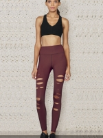Легинсы для фитнеса High-Waist Ripped Warrior Black Cherry