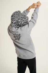 Худи Leopard and Roses серый